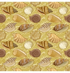 Seamless background seashells vector