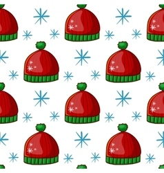 Seamless pattern with winter hat vector