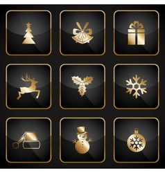 Set of black and gold web buttons for Christmas vector