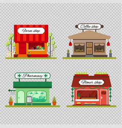 set of different shops in flat style - farm vector image