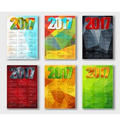 Set polygonal calendar 2017 vector image
