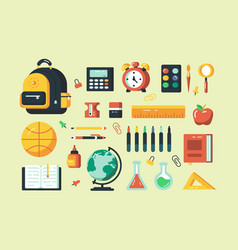 Set school supplies vector
