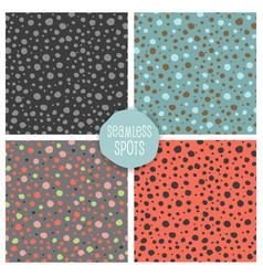 set seamless random dots patterns vector image