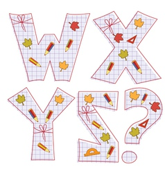 Sheet alphabet Letter W X Y Z question mark vector