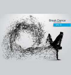 silhouette a break dancer from particles vector image