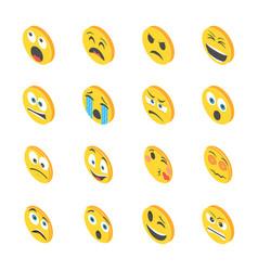 Smileys isometric icons vector