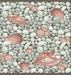 Stone texture with seashells seamless pattern vector