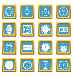 time and clock icons azure vector image