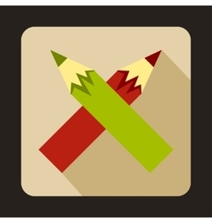 Two crossed colorful pencils icon vector image