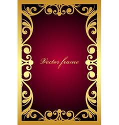 Vintage maroon frame with gold ornament vector