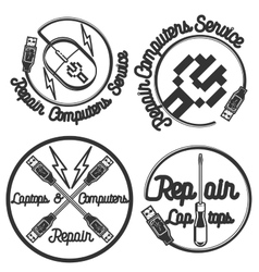 Vintage repair computers and laptops emblems vector image