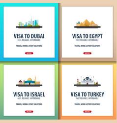 Visa to dubai uae egypt israel turkey vector