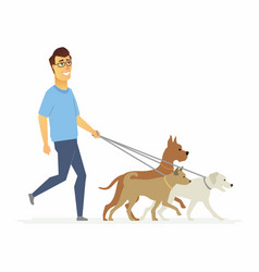 Volunteer helps to walk dogs - cartoon people vector