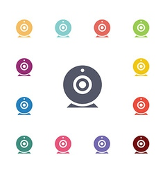 web camera flat icons set vector image
