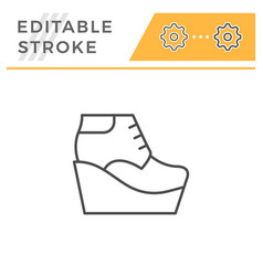 wedge boot editable stroke line outline icon vector image