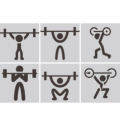 Weightlifting icons vector image