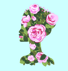 woman profile with roses bush silhouette vector image