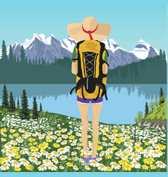 woman traveler looking at mountain lake in summer vector image