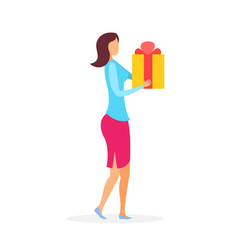 Woman with big gift box flat vector