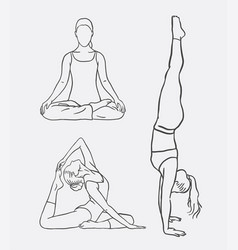 Yoga meditation sport artistic sketches vector