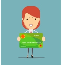 Young business woman holding new credit card vector image