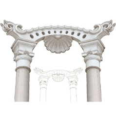 classic arch and columns sketch vector image vector image