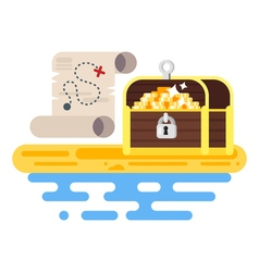 flat style of treasure chest and map vector image