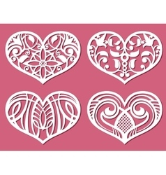 Laser printing romantic lacy wedding hearts with vector image