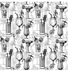 pattern with different cocktails vector image