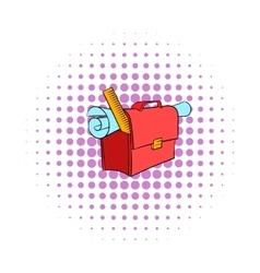 School briefcase bag with stationery icon vector image vector image