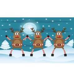 Three Christmas deer vector image vector image
