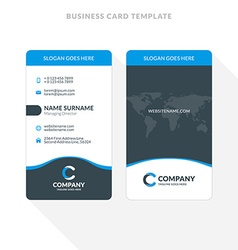 Vertical double sided business card template blue vector image vertical double sided business card template blue vector image vector image flashek Gallery