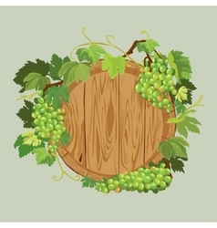 Wooden round frame with green grapes and leaves vector image vector image