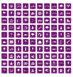 100 childrens park icons set grunge purple vector image vector image