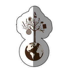 monochrome sticker of world with tree of knowledge vector image vector image