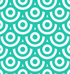Seamless pattern with circles blue green and white vector image