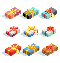 set of colored 3d giftboxes with ribbons isolated vector image