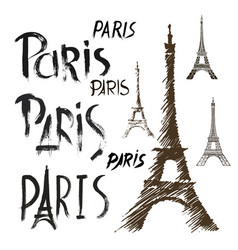 word paris eiffel tower hand drawn set vector image vector image