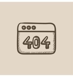 Browser window with 404 error sketch icon vector image
