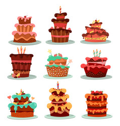 cakes or dessert food bakery and pastry vector image vector image