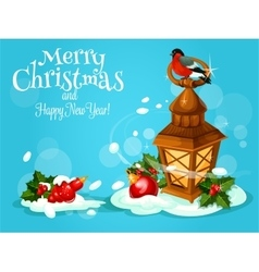 Christmas lantern with holly berry and bauble card vector image vector image