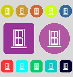 Door icon sign 12 colored buttons Flat design vector image