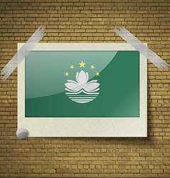 Flags Macau at frame on a brick background vector image vector image