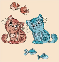 folk-style cats vector image vector image
