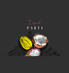 hand drawn abstract artistic tropic party vector image