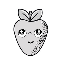 Hand drawn kawaii nice thinking strawberry icon vector