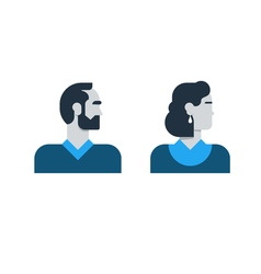 Man woman side view halfe face head clerk service vector image vector image