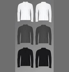 men polo t shirt long sleeve vector image