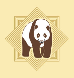 panda standing cartoon logo vector image