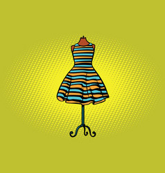 striped dress in studio on the dummy front hanger vector image